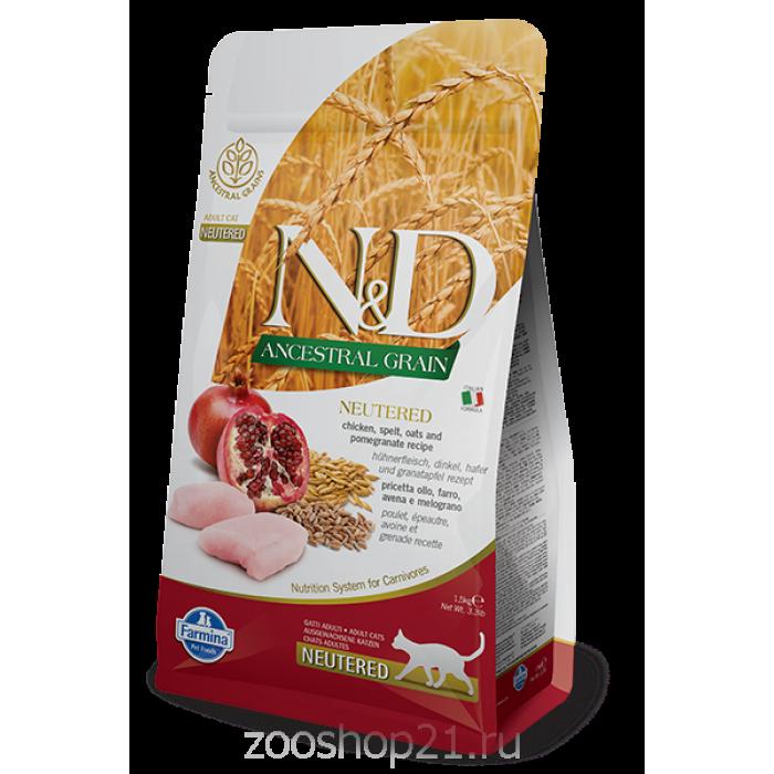 Корм Farmina N&D (Low Grain) Chicken & Pomegranate Neutered для стерилизованных кошек с низким содержанием зерна курица с гранатом, 1.5 кг